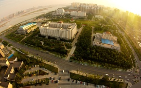 Wallpaper road, the sun, landscape, machine, city, the city, building, height, horizon, panorama, structure, scenery, building, ...