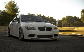 Picture white, the sky, trees, bmw, BMW, white, e92, the road