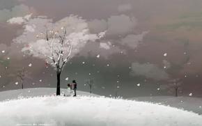 Picture love, winter, couple