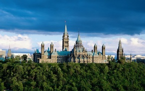 Wallpaper Ontario, the building, Parliament, trees, Canada, clouds