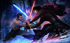 Picture Forest, duel, Star wars, Star wars, lightsabers, Patrick Brown, Patrick Brown, Finn, Finn, The force …
