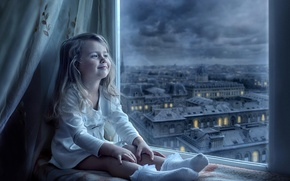 Picture the city, smile, view, window, girl, child