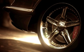 Picture close-up, wheel, chrome