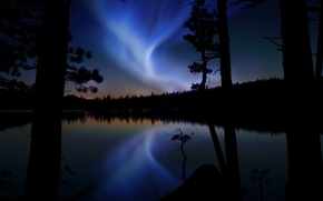Wallpaper Aurora, reflection, Northern lights, trees, glow, lake, mood, forest