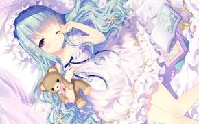 Picture books, sleep, crown, candy, bear, girl, Princess, cap, blue hair, art, ruffles, the mirror, Wasabi