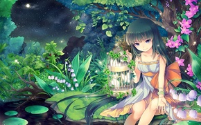 Picture night, Pond, Anime, cutie