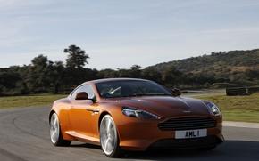 Picture road, the sky, landscape, Aston Martin, coupe, Virage