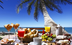 Picture sea, Palma, kiwi, juice, grapes, juice, cakes, cakes, grapes, cakes, buns, baking