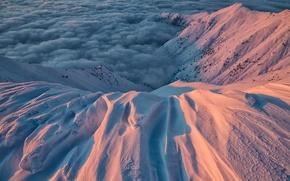Picture clouds, light, snow, Italy, region, Alpine mountains, Piedmont