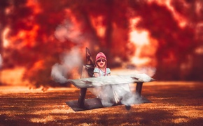 Picture flight, the plane, child