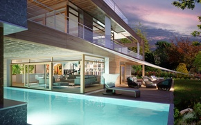 Picture pool, Switzerland, villa, luxury, living space