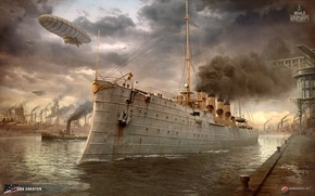 Picture ship, steampunk, cruiser, worldofwarships, Chester