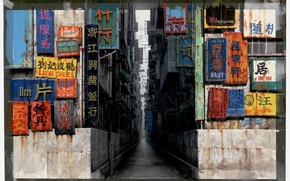 Picture the city, street, corridor, characters, signs, Ghost in the shell, art, narrow, Ghost in the …