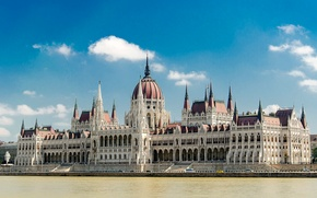 Wallpaper the sky, clouds, landscape, river, Parliament, Hungary, Budapest, The Danube
