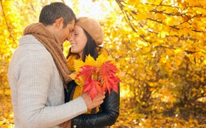 Picture autumn, leaves, girl, Park, guy