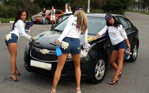 Picture girl, Girls, Chevrolet, caps, black car, RUB the car