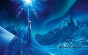 Picture Girl, City, Light, Frozen, Disney, Fantasy, Sky, Beautiful, Stars, Blue, Winter, Frost, Anna, big, Night, …