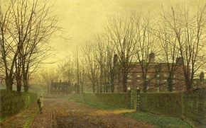 Picture picture, wicket, home, trees, leaves, street, the fence, girl, John Atkinson Grimshaw, alley, branches, autumn