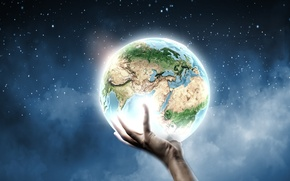 Picture creative, earth, planet, hand, stars