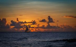Picture beach, twilight, sea, sunset, seascape, dusk, seaside, horizon, boat, sailing