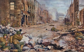 Picture art, WW2, France, soldiers, rifle, the ruins, smoke, figure, shots, troops, М1903А4, М1903А3, the city ...