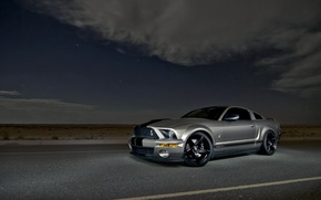 Picture Shelby, GT500, muscle car, Shelby, silvery, Mustang, night, Ford, clouds, the sky, muscle car, silver, ...
