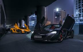 Picture McLaren, Orange, Dubai, Front, Black, Supercars, 650S, Doors