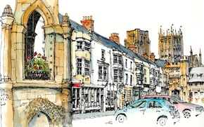 Picture the city, paint, figure, tower, home, UK, car, Keword