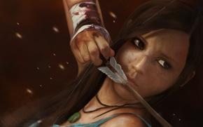 Picture girl, blood, bow, art, arrow, bandages, wound, Lara Croft, Tomb Raider Reborn