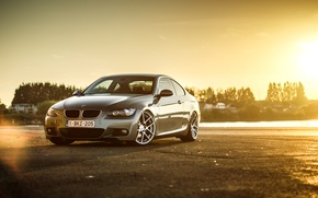 Picture BMW, silver, wheels, E92, frontside