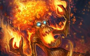 Wallpaper tree, fire, map, being, art, WoW, World of Warcraft, Hearthstone, Blackrock Mountain, Volcanic Treebeard, Volcanic ...