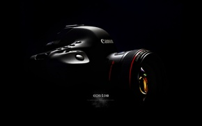 Picture the camera, lens, black background, Canon, canon EF 50mm F1