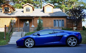 Picture blue, house, sport, lamborghini, car, street., galardo