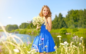 Picture Girl, Smile, Dress, Bouquets