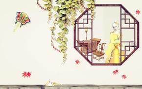 Picture autumn, girl, window, art