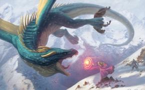 Picture winter, girl, snow, magic, dragon, art, fantasy