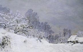 Wallpaper snow, landscape, picture, Claude Monet, The road to the Farm Saint-Simeon in Winter