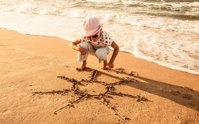 Picture sand, sea, wave, beach, summer, water, the sun, joy, children, smile, background, stay, Wallpaper, mood, ...