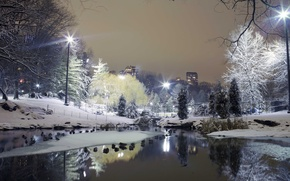 Picture winter, snow, trees, the city, Park, lights, rates