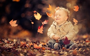 Picture autumn, leaves, mood, boy, child