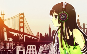 Wallpaper the city, Girl, headphones, M & e