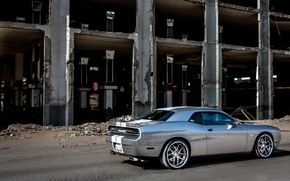 Picture Auto, Tuning, Dodge, Grey, The building, Dodge, SRT8, Challenger, ADV1, Side view, Muscle