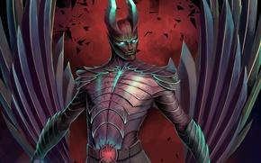 Picture wings, the demon, art, horns, Dota 2, Ulsae, Terror blade, Demon Marauder