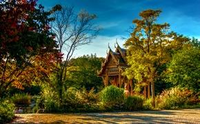 Picture autumn, trees, pond, Park, Germany, Bayern, pagoda, Sunny, the bushes, Munich, Sendling-Westpark