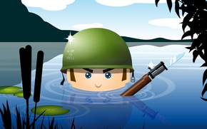 Wallpaper water, weapons, army, soldiers