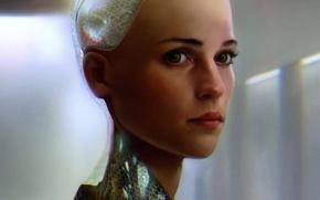 Wallpaper fiction, Ex Machina, art, cyborg, face, Ava