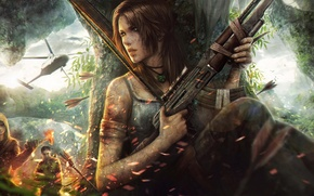 Picture Tomb Raider, art, island, fight, arrows, helicopter, chase, price, any, tincek-marincek., to survive, the bandits, ...