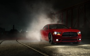 Picture Muscle, Dodge, Red, Car, Front, Charger, Smoke, Adrenaline