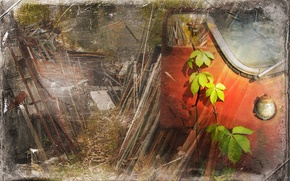 Wallpaper leaves, style, background
