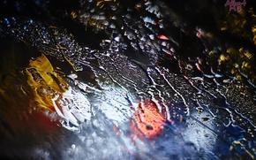 Picture water, drops, macro, night, lights, rain, Glass, bokeh